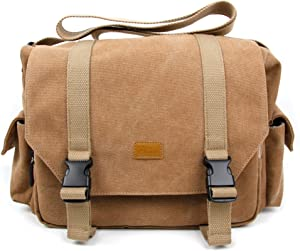 DURAGADGET Tan-Brown Large Sized Canvas Carry Bag with Multiple Pockets & Customizable Interior Compartment - Compatible with Acer Holo 360