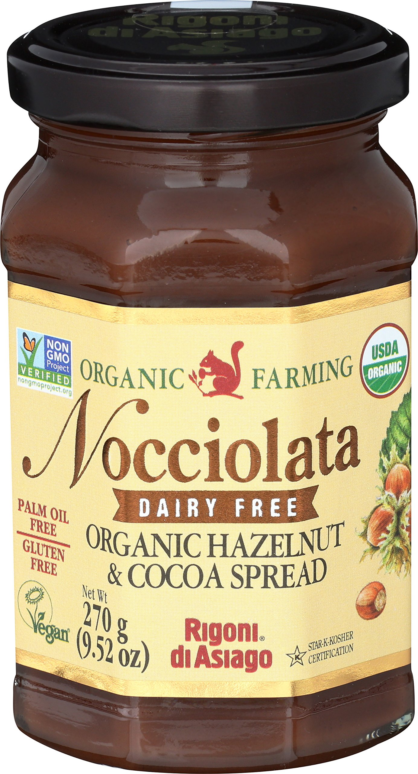 Rigoni Di Asiago Nocciolata DAIRY FREE Organic Hazelnut & Cocoa Spread, 9.52 Ounce Jar (Hazelnut Cocoa, 6 Pack)