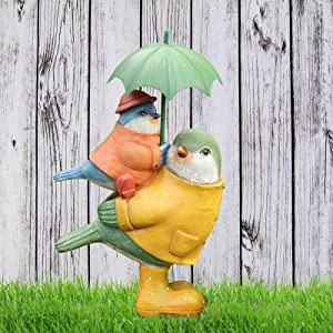 Garden Decor Sculptures Statues Outdoor, Bird Home Patio Decor Gardening Gifts for Christmas Figurine Decorations for Lawn Yard