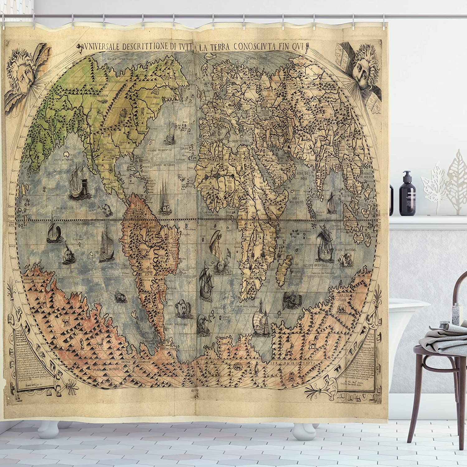 Lunarable Antique Shower Curtain, Map of World Global History Stained Paper Oceans Lands Vintage Atlas, Cloth Fabric Bathroom Decor Set with Hooks, 105