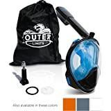 Outer Limits Full Face Snorkel Mask - Action Camera Mount - 180 Degree Panoramic View - New Bubble Design with a Longer Snorkel- 4 Colors, 2 Sizes Available - Action Camera Screw Included