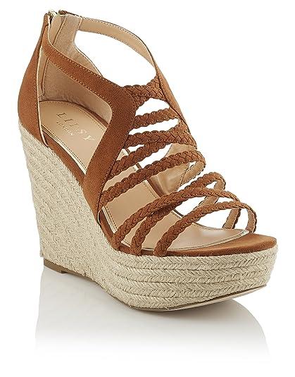 Lipsy Mujer Sandalias Alpargatas De Cuña Tiras Trenzadas Cremallera Trasera: Amazon.es: Zapatos y complementos