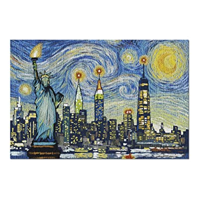 New York City, New York - Skyline - Van Gogh Starry Night (Premium 500 Piece Jigsaw Puzzle for Adults, 13x19, Made in USA!): Toys & Games
