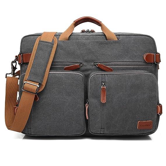 Cool Bell Convertible Backpack Messenger Bag Shoulder Bag Laptop Case Handbag Business Briefcase Multi Functional Travel Rucksack Fits 17.3 Inch Laptop For Men/Women (Canvas Dark Coffee) by Cool Bell