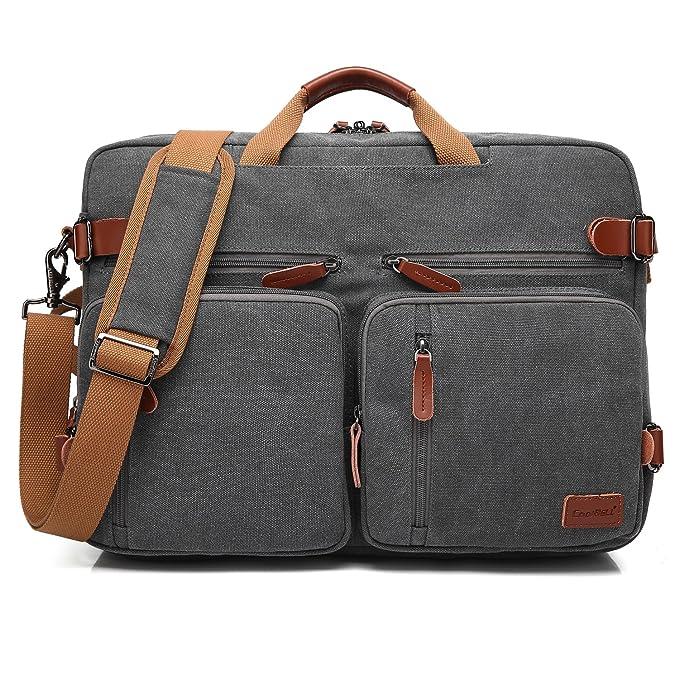 CoolBELL Convertible Backpack Messenger Bag Shoulder Bag Laptop Case Handbag Business Briefcase Multi-Functional Travel Rucksack Fits 17.3 Inch Laptop for Men/Women (Canvas Dark Grey) best men's travel accessories