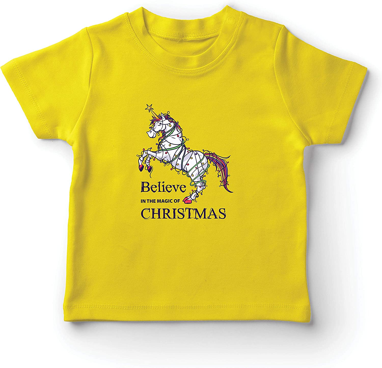 lepni.me Camiseta para Niño/Niña Cree en la Magia de la Navidad, Navidad Unicornio