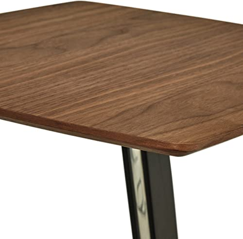 Amazon Brand Rivet Industrial Tilted Wood and Metal Side End Table, 17.3 W, Walnut