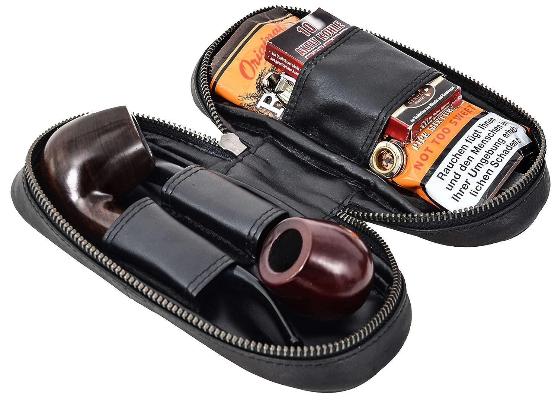 Gusti Leder studio Barton Estuche de Cuero para Pipas 2 y Picadura Funda de Piel Aut/éntica Estilo Vintage Y Retro Tabaco Unisex Regalo Elegante Negro 2T2-22-9