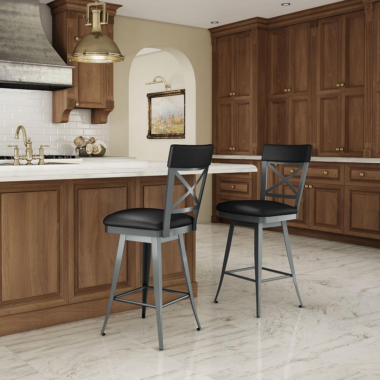 Amazon.com: Amisco Windsor Swivel Metal Barstool with Backrest, 30 ...