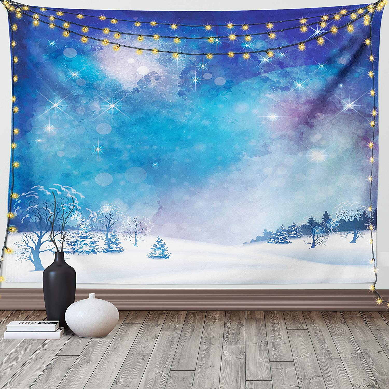 Snow Scene Winter White Tapestry Art Wall Hanging Cover Poster