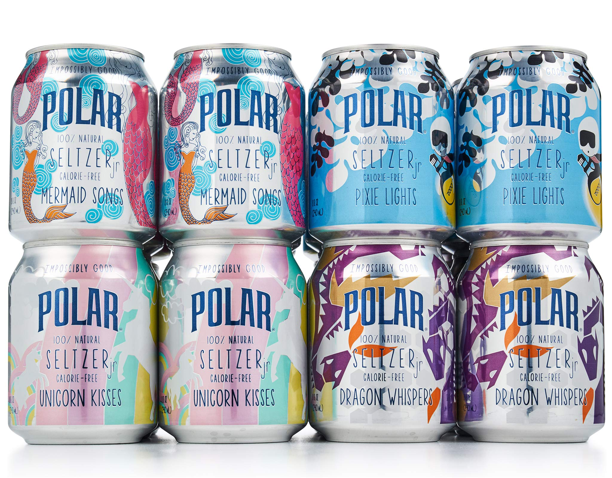 POLAR 100% Natural Seltzer Jr - 24 ct Variety Pack - The Impossibly Good Collection (Unicorn Kisses, Pixie Lights, Mermaid Songs, Dragon Whispers) by POLAR