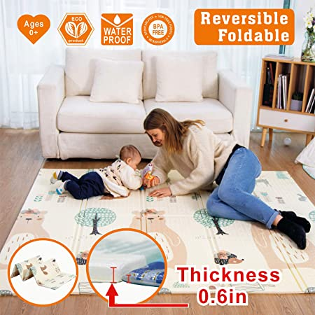 Thick Baby Playmat, Baby mat, Extra Large Foldble Crawling Playmat, Skidproof Soft Cushioned Floor Mat for Infants, Non-Toxic Waterproof Reversible Crawling Yoga Gym Mat 71 X 79 X 0.6