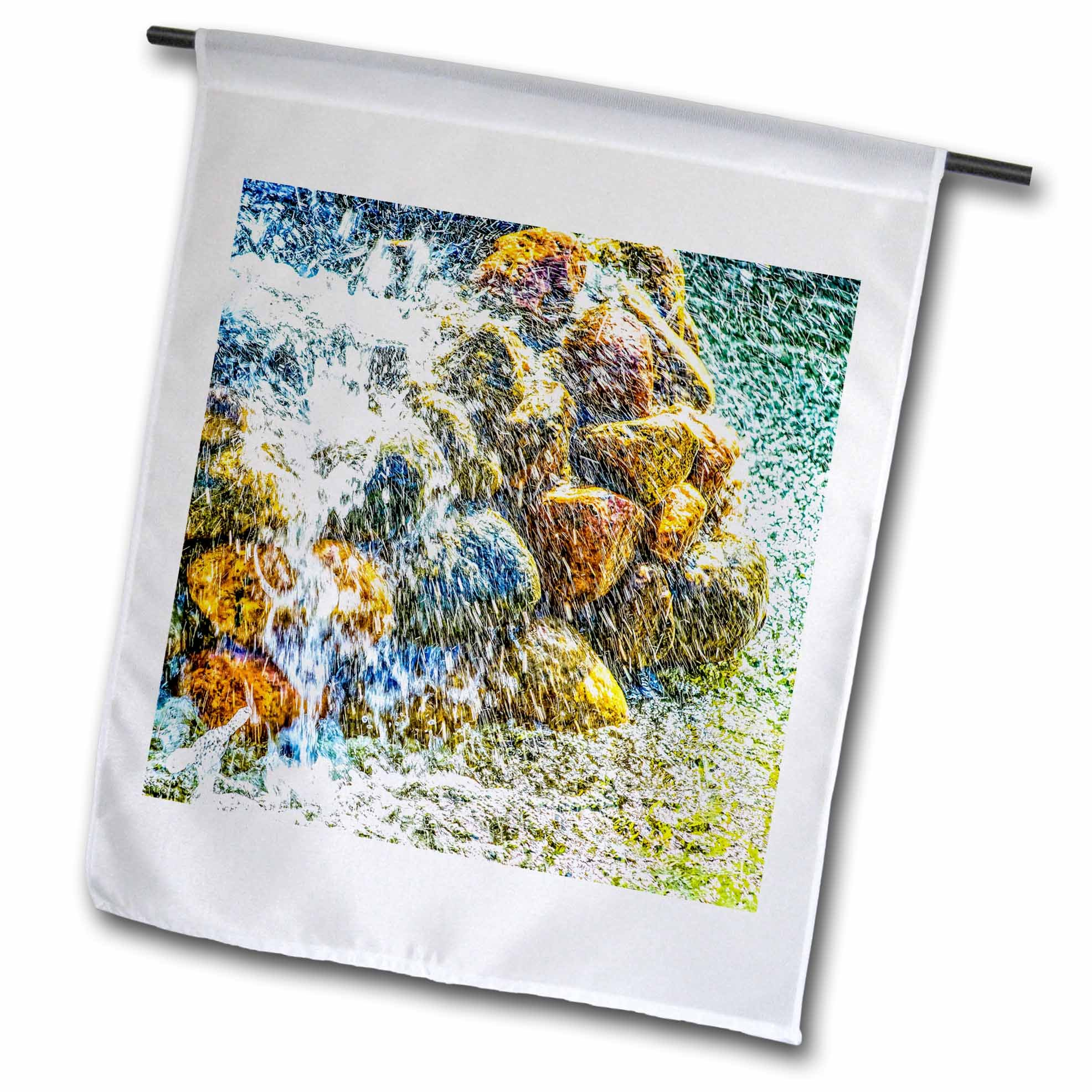 3dRose Alexis Photography - Objects - Fierce water sprays and jets over the stone pile. Fountain - 18 x 27 inch Garden Flag (fl_270876_2)
