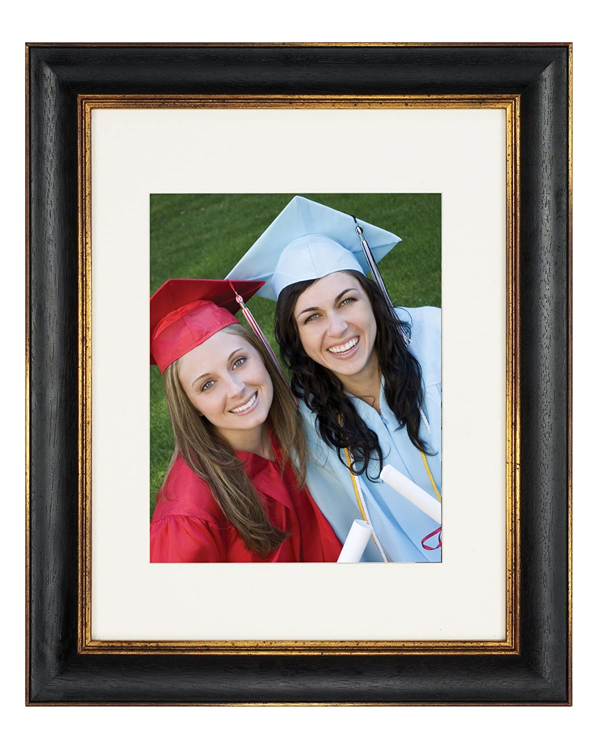 Artcare 8x10 Tuscan Collection Black and Gold Archival Wood Frame With Single Warm White Mat For 5x7 Image #RW0761BG. Includes: UV Glazed Glass and Anti Aging Liner NBG Home