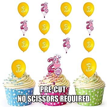 Vorgeschnittenen 2 Nd Madchen Geburtstag Gelb Luftballons Essbare