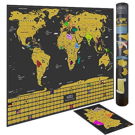 Wideta Weltkarte Zum Rubbeln In Deutsch Mit Landerflaggen Grosse