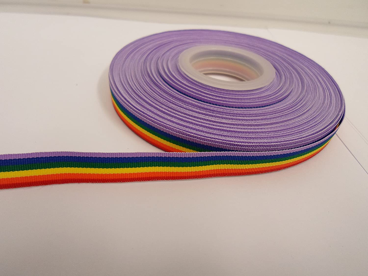 Beautiful Ribbon 2 Metros x 10mm Cinta de Arco Iris Gay Pride la Raya del Color