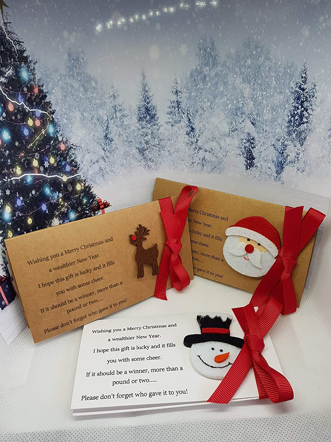 Table Favours Place Cards Secret Santa 3 designs Scratchcard Envelopes Christmas Lottery Ticket Wallet Brown or White