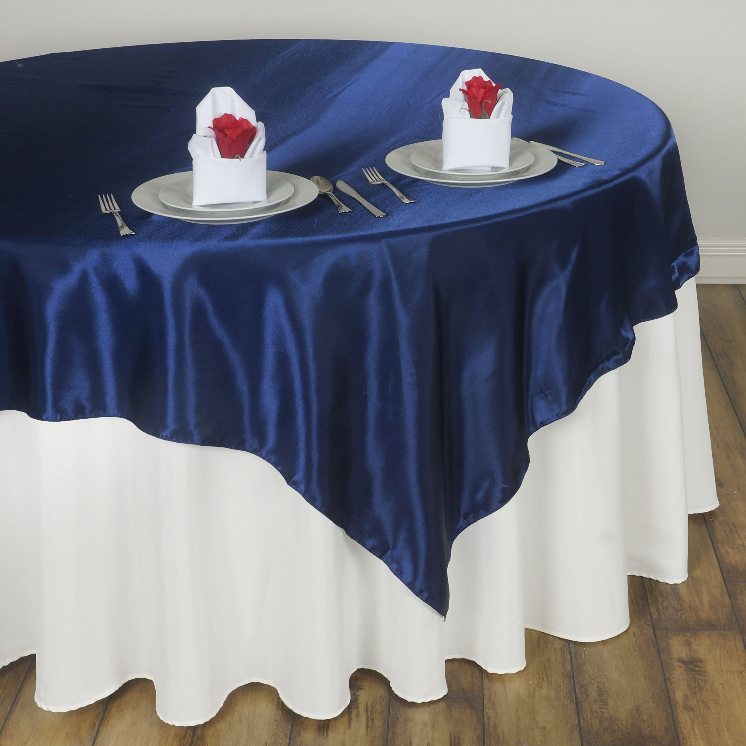 BalsaCircle 5 pcs 72x72-Inch Navy Blue Satin Table Overlays - Wedding Reception Party Catering Table Linens Decorations