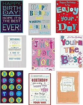9 Moderna Tipografia Happy Birthday Tarjetas De Felicitacion Para