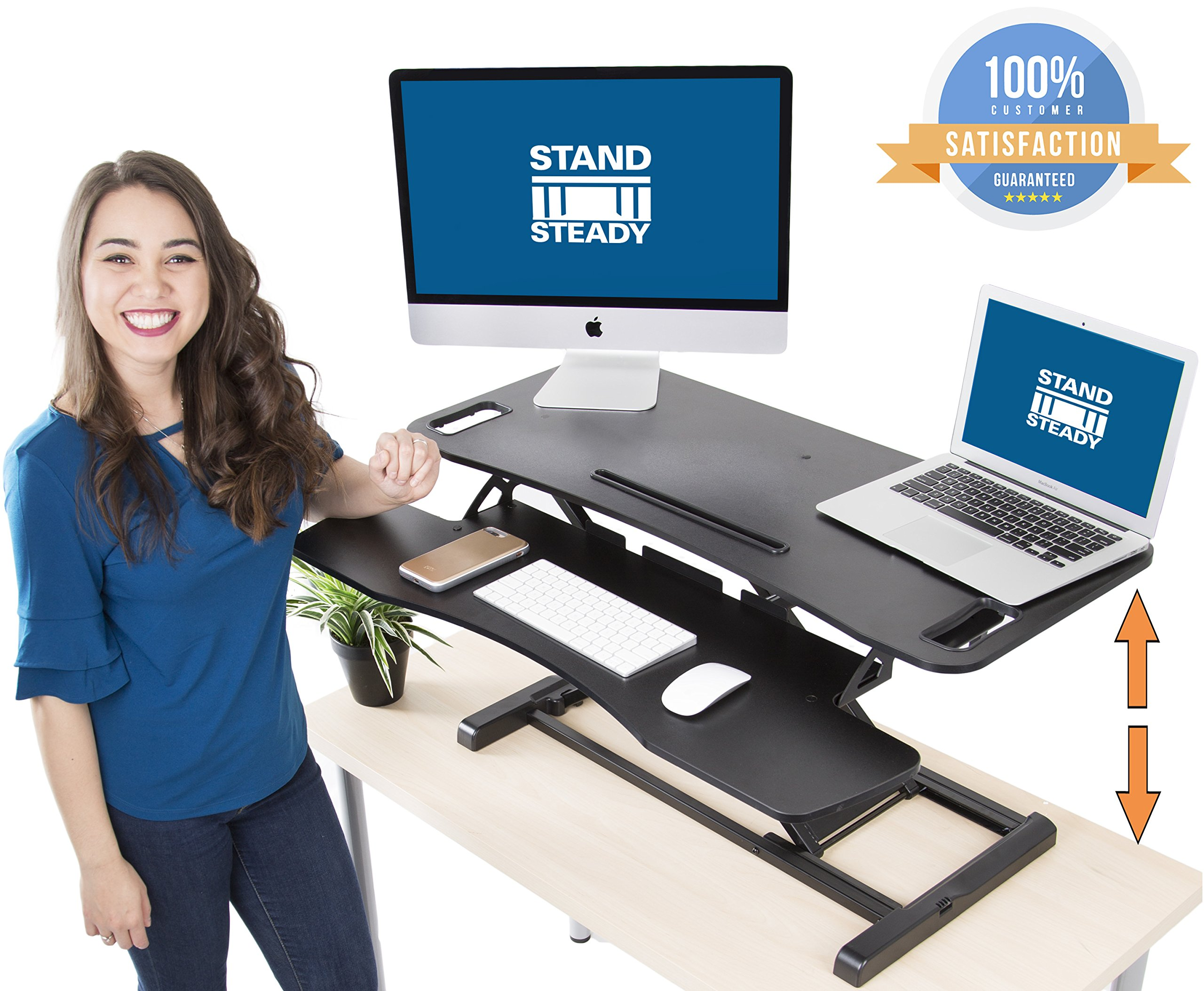 Stand Steady FlexPro Hero Two Level Standing Desk - Easily Sit or Stand in Seconds! Large Work Space w/ Removable Extra Level for Keyboard & Mouse! (Large (37''))