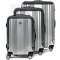 FERGÉ® Set 3 valises Rigide léger Serrure TSA Cannes Ensemble de Bagages Trois pc Trolley 4 Roues roulettes Doubles 360 degrés Bagage Cabine