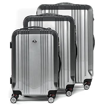 FERGÉ Juego de 3 Maletas rigidas de Viaje Cannes Equipaje de Trolley Dura Spinner con 4 Ruedas giratorias (360) Plateado: Amazon.es: Equipaje