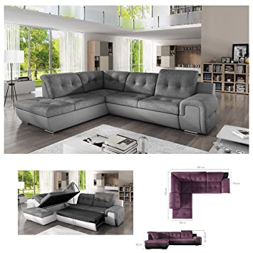 Astounding Bmf Galaxy B Grey Modern Corner Sofa Bed Storage Faux Home Interior And Landscaping Spoatsignezvosmurscom