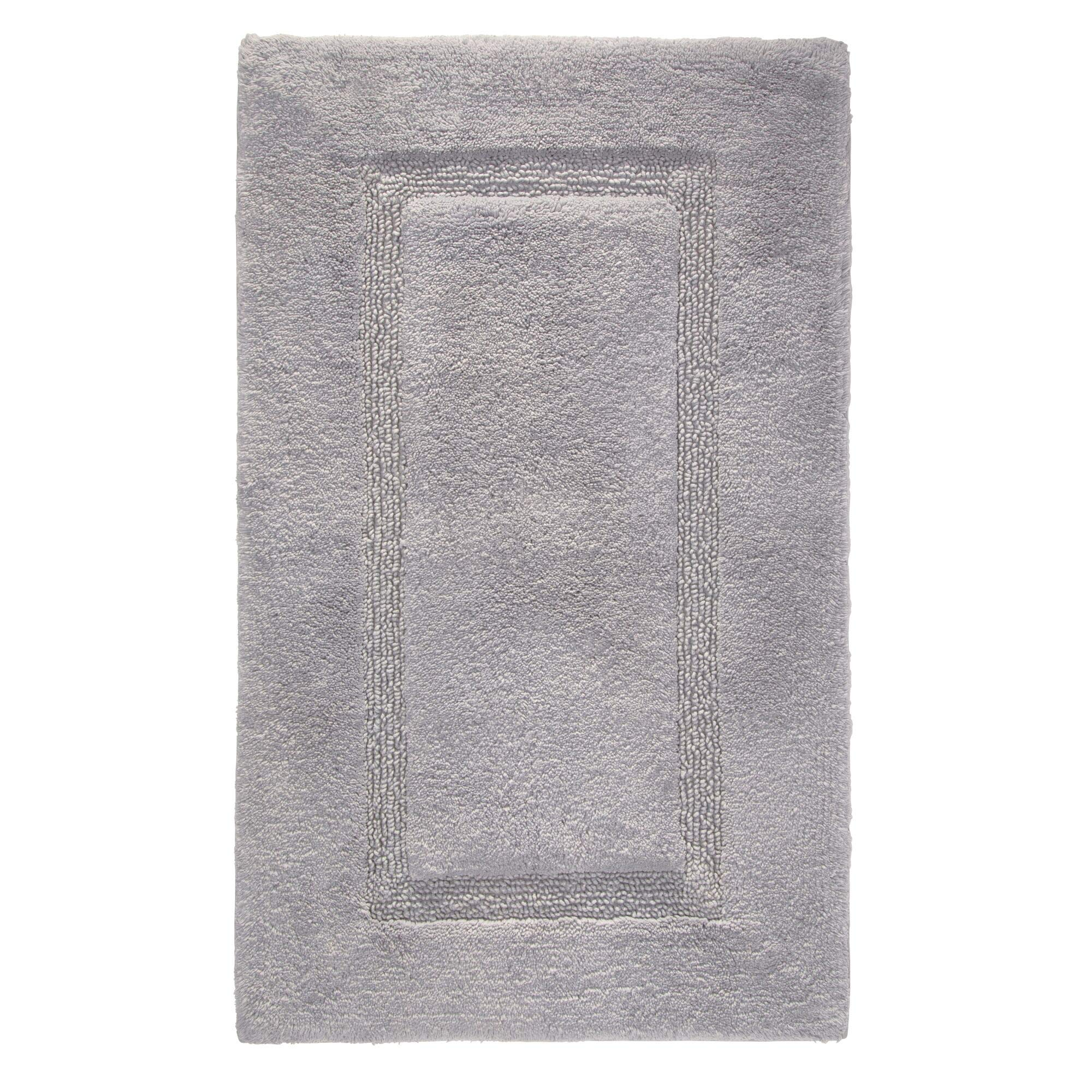 iDesign Spa Plush Cotton Bath Mat, Shower Accent Rug for Master, Guest, and Kids' Bathroom, Gray - 21'' x 34'' by iDesign
