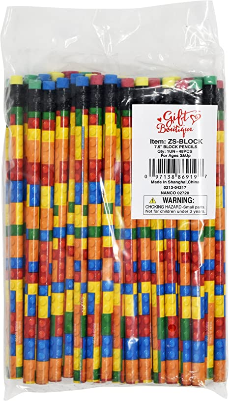 Gift Boutique 48 Colorful Building Block Brick Pencils Kids Birthday Goody Bag Bulk Filler Party Favor Supplies with Color Erasers