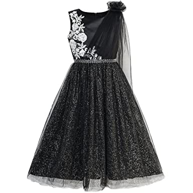Sunny Fashion Girls Dress Black Sparkling Tulle Lace Party Prom Gown Age 6 Years