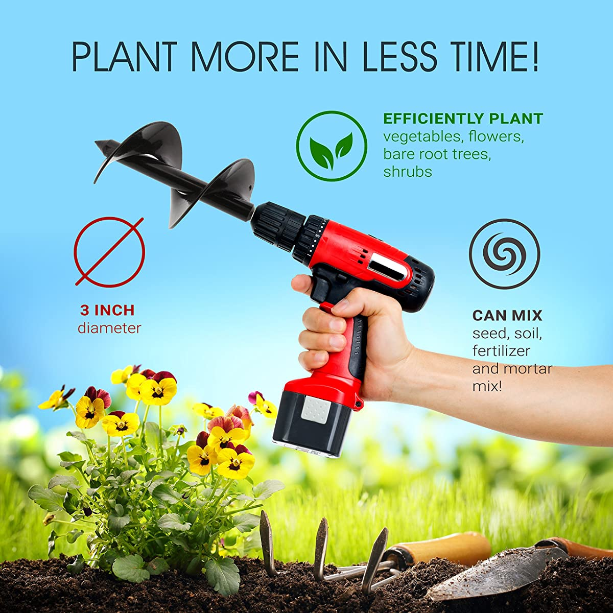 """7Penn Garden Plant Flower Bulb Auger 3"""" x 7"""" Inch Rapid Planter – Post or Umbrella Hole Digger for 3/8"""" Hex Drive Drill"""