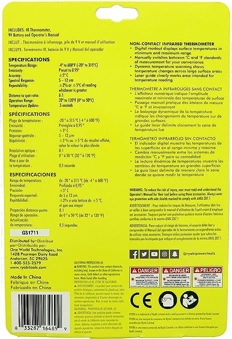 Ryobi IR002/ Thermom/ètre infrarouge pour v/érifier les points chauds et froids de votre maison