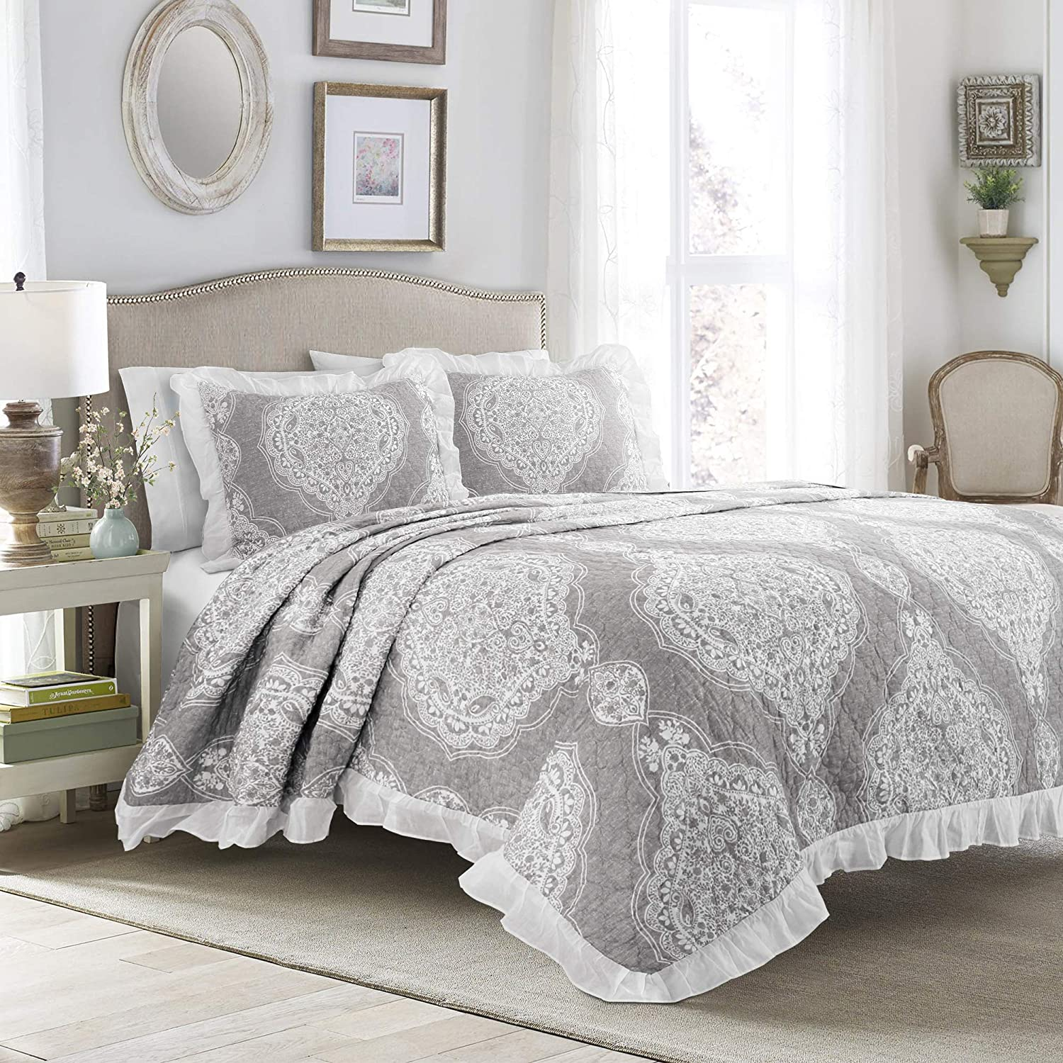 Lush Decor Lucianna Ruffle Edge Cotton 3 Piece Bedspread Set, King, Gray