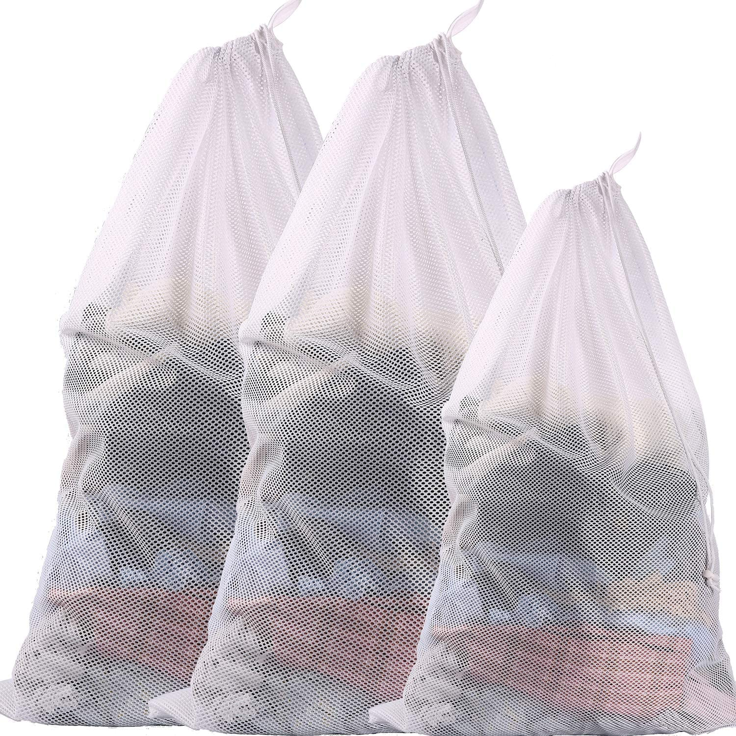 BAGAIL Set of 3 Sturdy Coarse Mesh Laundry Bag - 2 Extra Large&1 Large with Drawstring Closure for College, Dorm and Apartment Dwellers(3 Set Coarse Mesh)