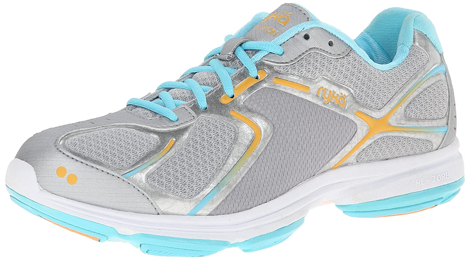 Ryka Women's Devotion Walking Shoe B00ISMKMVY 6.5 B(M) US|Grey/Light Blue/Orange
