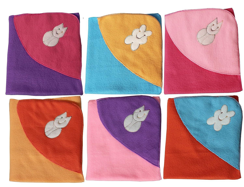 My Newborn Baby Fleece Wrapper Hooded Blanket, Multicolor (Pack of 6)