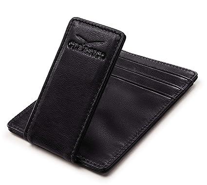Amazon.com: Billetera de piel con clip para dinero, para ...