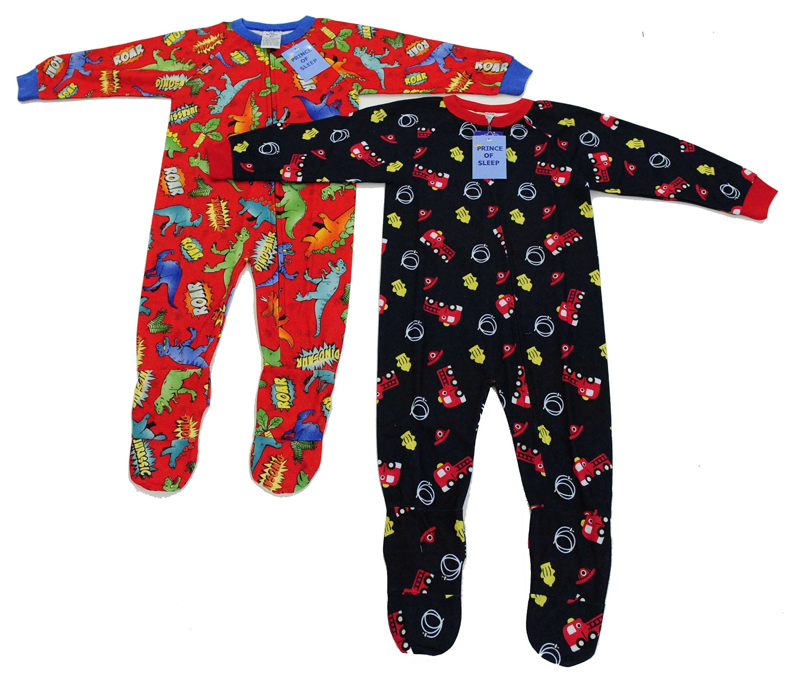 Prince of Sleep 95558A-7 Footed Pajamas/Blanket Sleepers,Fire Truck and Dinosaurs,Boys' 7