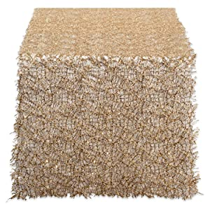 DII CAMZ38207 Sequin Mesh Table Runner Roll, Gold