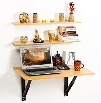 Bluewud Hemming Folding Wall Mounted Study/Computer/Laptop/Office Table  With Wall Shelves