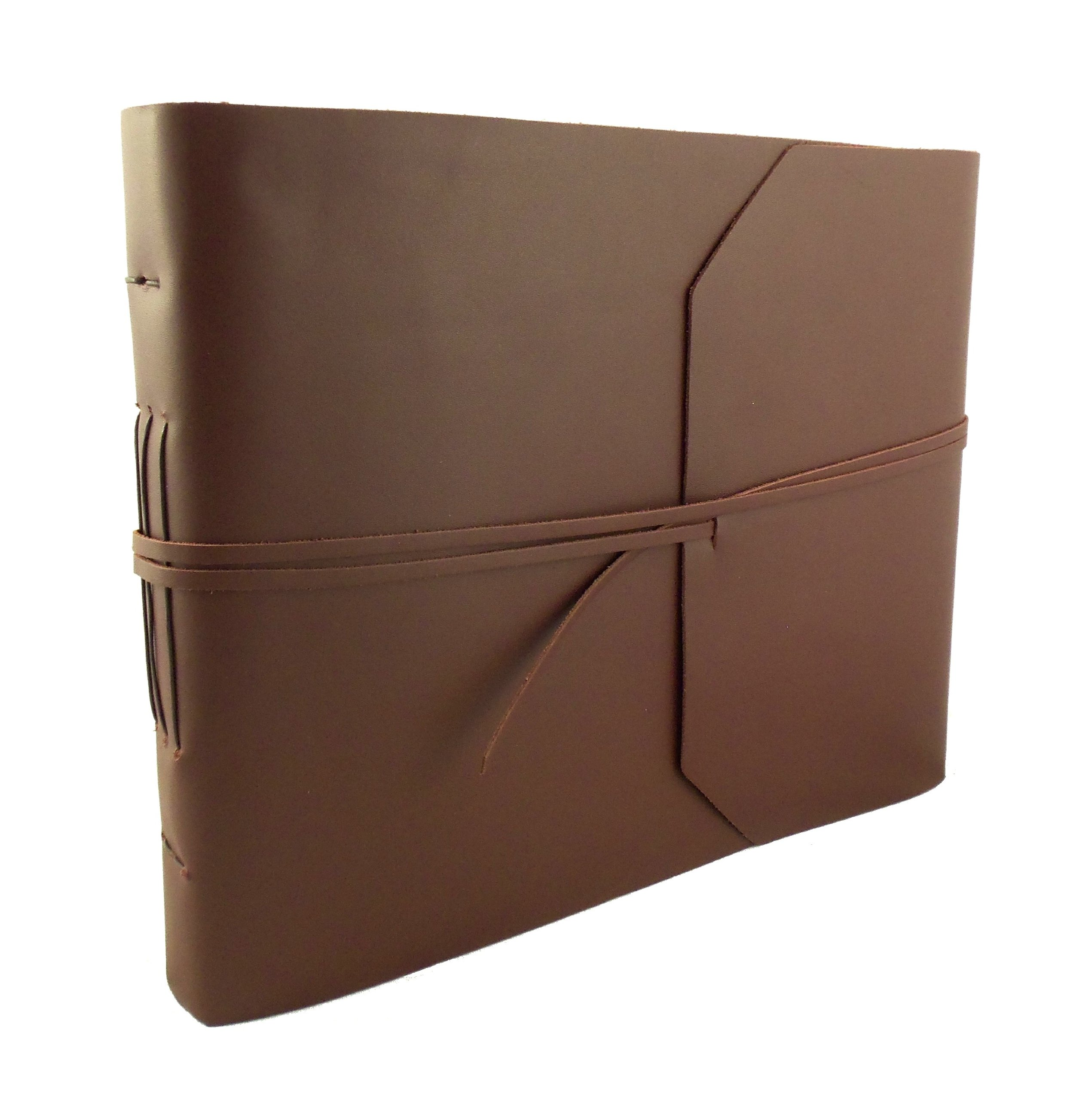 """Large Genuine Leather Photo Album with Gift Box - Scrapbook Style Pages - Holds 400 4x6"""" or 200 5x7"""" Photos"""