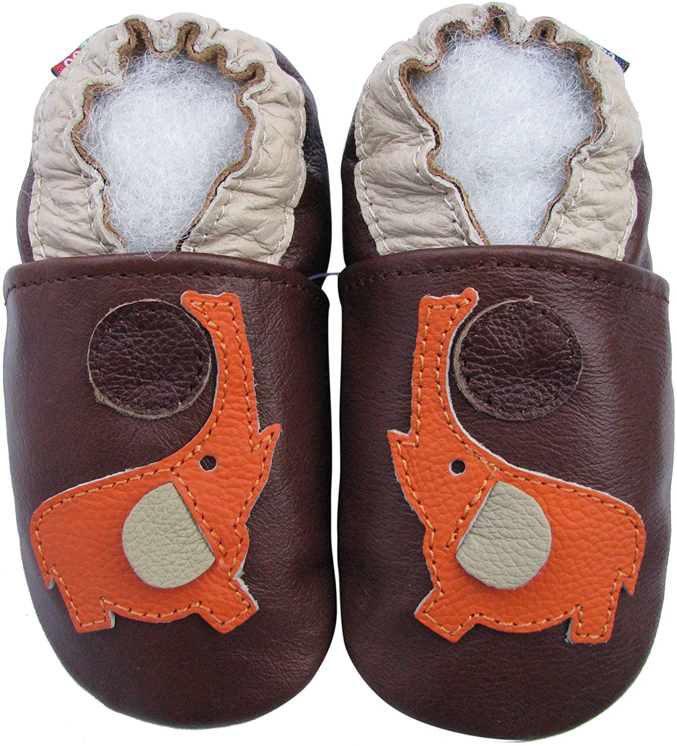 Carozoo Elephant Brown Unisex Baby Soft Sole Leather Shoes