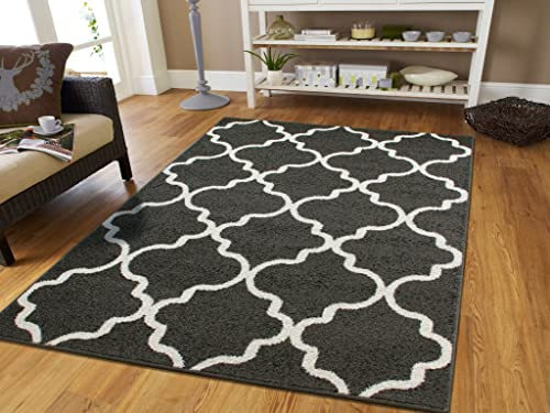 Large 8×11 Morrocan Trellis Area Rug Gray Contemporary Rugs 8×10 For Living Rooms Grey and White Floor Rugs for Living Room Large, Large 8×11 Rug