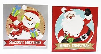 Cute Christmas Cards.Christmas Greeting Cards 20 Pack Cute Glitter Snowman Santa Assorted Kids Xmas