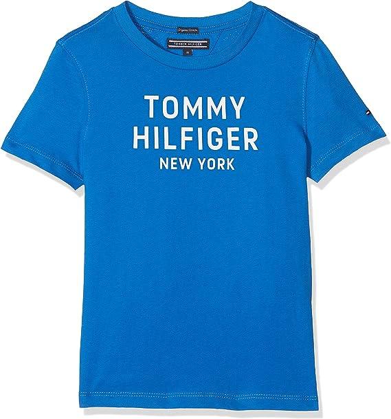 Tommy Hilfiger Essential Big Logo tee S/s Camiseta, Azul (Strong Blue 405), 176 (Talla del Fabricante: 16) para Niños: Amazon.es: Ropa y accesorios