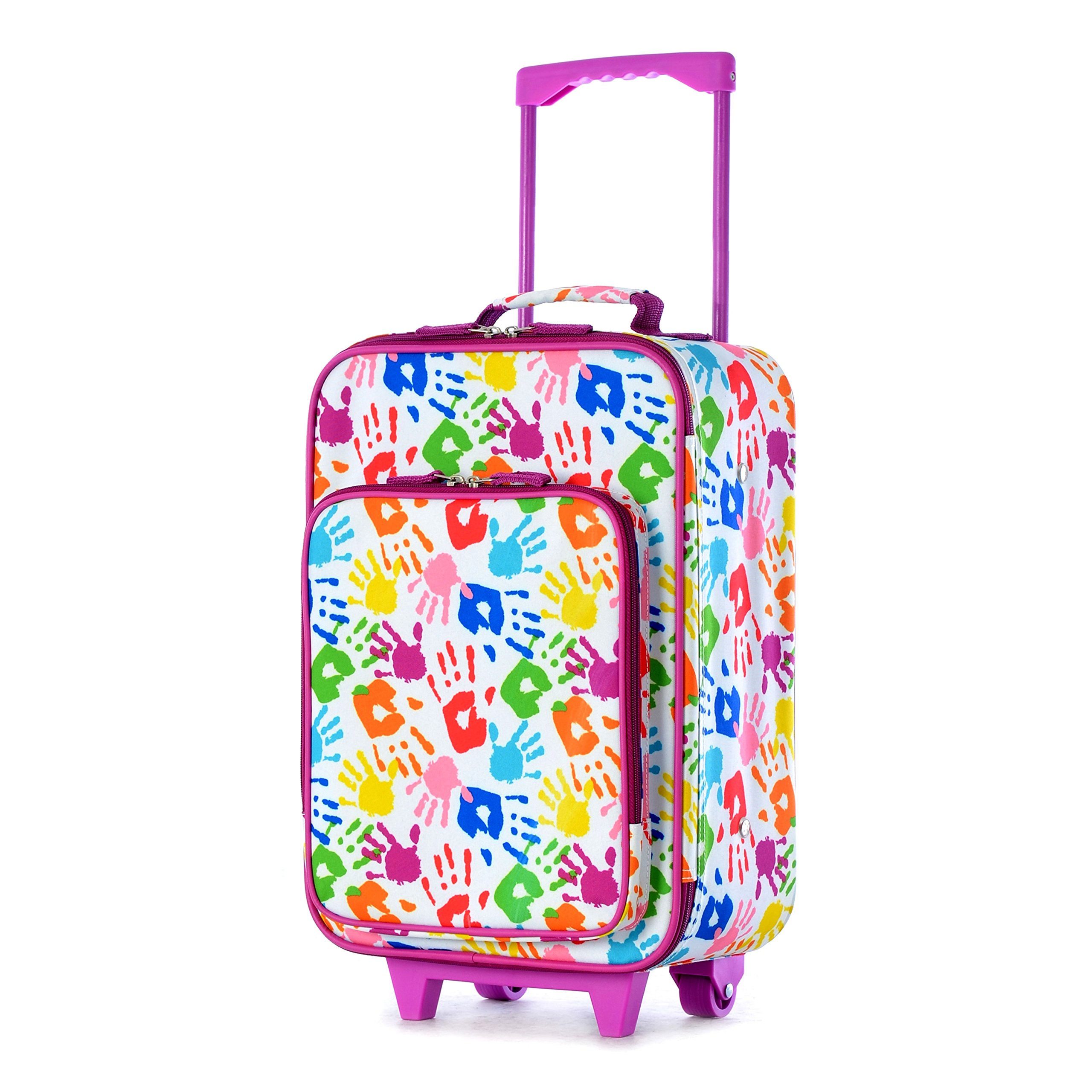 DH Kids Purple Green Blue Pink Handprint Theme Rolling Upright Suitcase, Beautiful All Over Fun Paint Print Wheeled Luggage, Duffel with Wheels, Wheeling Luggage, Lightweight Softsided, Fashionable