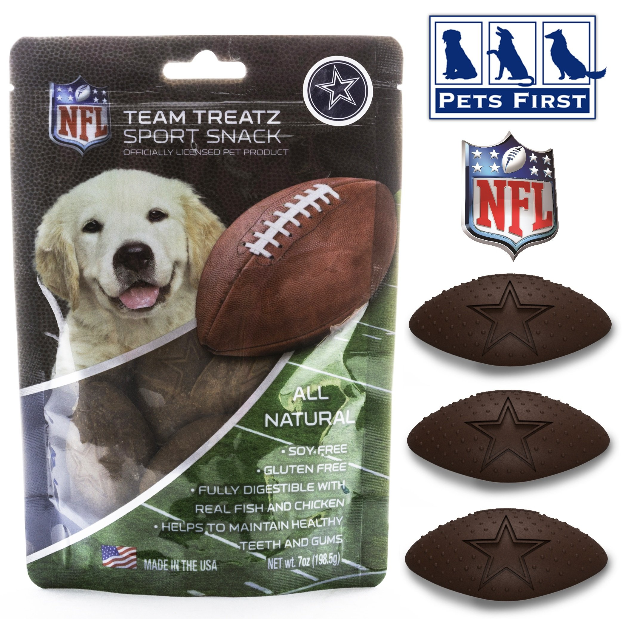 Pets First NFL DALLAS COWBOYS DOG FOOD Snack Treat Bone-Free. Dog Training Cookies Tasty Biscuits Dog Rewards. Provides Healthy Dog Teeth & Gum, Soy-Free, Gluten-Free.