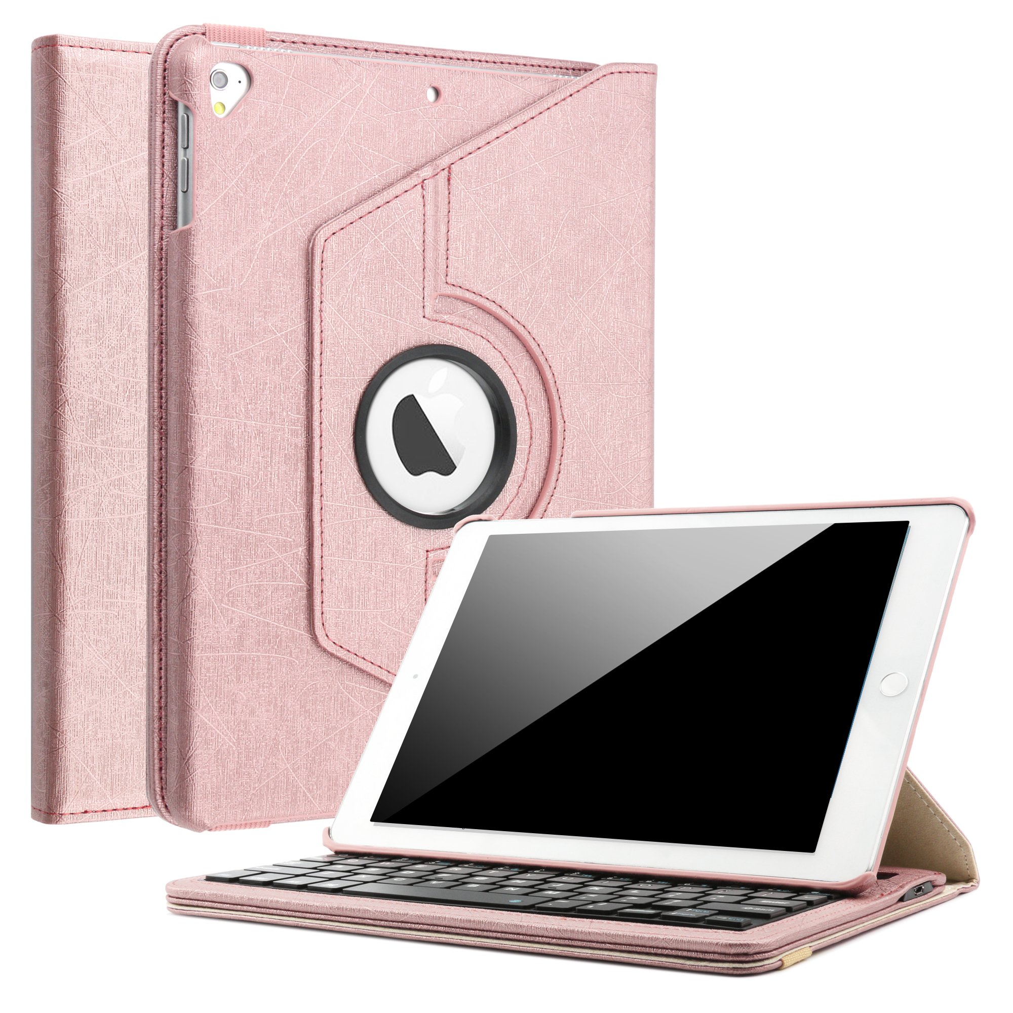 iPad 9.7 2018 2017/iPad Pro 9.7/iPad Air 2/iPad Air 1 Keyboard Case,Boriyuan 360 Degree Rotating Stand PU Leather Smart Cover with Detachable Wireless Bluetooth Keyboard for iPad 9.7 inch- Rose Gold