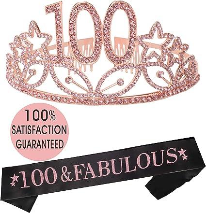 Amazon.com: Tiara de 100 cumpleaños y cinta de satén rosa ...